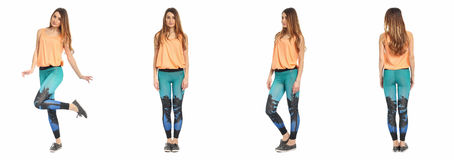 Young sexy woman in leggings isolated on white Stock Image