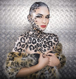 Young  sexy woman with leopard make up Royalty Free Stock Image