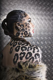 Young  sexy woman with leopard make up Stock Photo