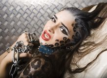 Young sexy woman with leopard make up all over Royalty Free Stock Images