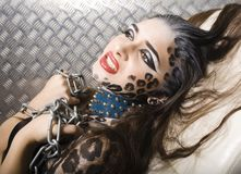 Young sexy woman with leopard make up all over Stock Photography
