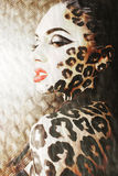 Young woman with leopard make up all over body, cat bodyart closeup. Young woman with leopard print make up all over body, cat bodyart closeup stock photos