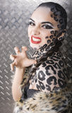 Young woman with leopard make up all over body, cat bodyart closeup sensual. Young woman with leopard make up all over body, cat bodyart print closeup sensual stock photos