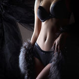 Young sexy woman in lingerie over luxury background Royalty Free Stock Images