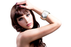 Young woman with long brown hairs. Stock Photography