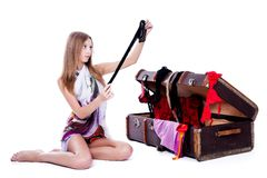 Young sexy woman near old suitcase Royalty Free Stock Photography