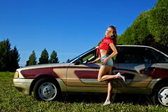 Young sexy woman pinup style and retro car Stock Photo