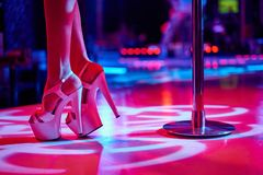 Free Young Sexy Woman Pole Dancing Striptease With Pylon In Night Club. Beautiful Naked Stripper Girl On Stage. Beautiful Royalty Free Stock Photography - 160136767