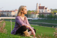 Young sexy woman relaxing in the evening Royalty Free Stock Images