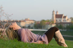 Young sexy woman relaxing in Vilnius, Lithuania Royalty Free Stock Image