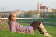 Young sexy woman relaxing in Vilnius, Lithuania Stock Images