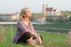 Young sexy woman relaxing in Vilnius, Lithuania Stock Photography