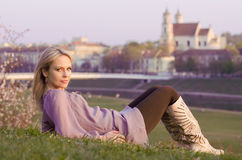 Young sexy woman relaxing in Vilnius, Lithuania Stock Photo