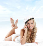 A young and sexy woman in a Sailor hat Royalty Free Stock Photography