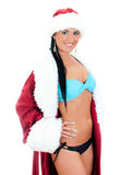 Young sexy woman in santa clause costume. Stock Photo