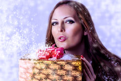 Young sexy woman santa with gift Royalty Free Stock Images