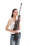 Young woman with a sniper rifle. Stock Images