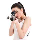 Young woman with a sniper rifle. Royalty Free Stock Photos