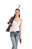 Young sexy woman with a sniper rifle. Royalty Free Stock Photos