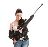 Young sexy woman with a sniper rifle. Royalty Free Stock Photo