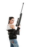 Young sexy woman with a sniper rifle. Stock Images