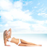 Young sexy woman in swimsuit isolated on white Stock Photos