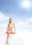 Young sexy woman in swimsuit isolated on white Stock Photo
