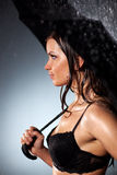 Young sexy woman with umbrella Royalty Free Stock Images