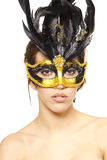 Young sexy woman in venetian mask Stock Photography