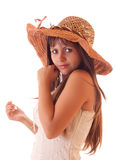 Young sexy woman in vintage hat isolated Stock Images