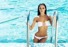 Young and sexy woman in a white bikini in the swimming pool Royalty Free Stock Photo