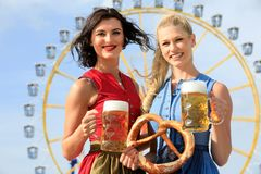 Girl with dirndl does oktoberfest wiesn in munic stock image
