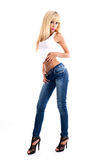Young women wearing jeans royalty free stock images