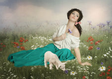 The young shepherdess Royalty Free Stock Images