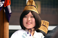 Young shinto priestess during Aoba festival Stock Photos