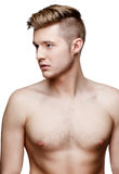 Young shirtless man isolated on white Royalty Free Stock Photos