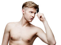 Young shirtless man isolated on white Royalty Free Stock Photography