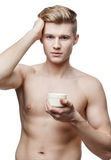 Young shirtless man isolated on white Stock Images