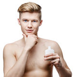 Young shirtless man isolated on white Royalty Free Stock Image