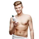 Young shirtless man isolated on white Royalty Free Stock Images