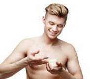 Young shirtless man isolated on white Royalty Free Stock Photo
