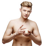 Young shirtless man isolated on white Stock Photography
