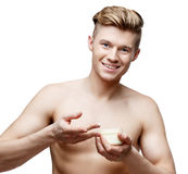 Young shirtless man isolated on white Stock Image