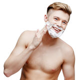 Young shirtless man isolated on white Stock Photos