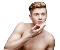 Young shirtless man isolated on white Stock Photo