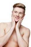 Young shirtless man  on white Royalty Free Stock Photos