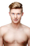 Young shirtless man  on white Royalty Free Stock Images