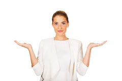 Young shocked businesswoman Stock Photography