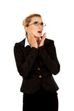 Young shocked businesswoman. Young blonde beautiful shocked businesswoman Royalty Free Stock Photos