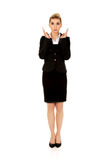 Young shocked businesswoman. Young blonde beautiful shocked businesswoman Stock Image